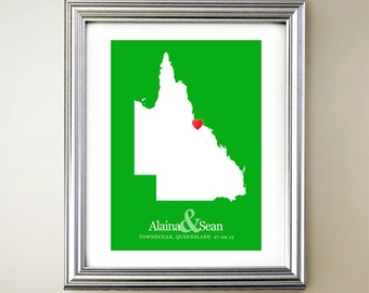 Queensland Custom Vertical Heart Map Art - Personalized names, wedding ...