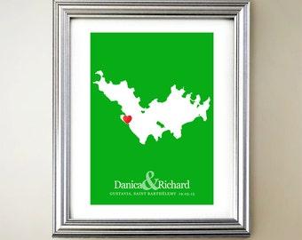 Saint-Barthélemy Custom Vertical Heart Map Art - Personalized names, wedding gift, engagement, anniversary date