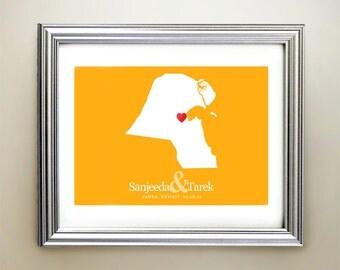 Kuwait Custom Horizontal Heart Map Art - Personalized names, wedding gift, engagement, anniversary date