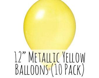 "12"" Metallic Yellow Balloons, 12 Inch Metallic Yellow Balloons, 10 pack, 1 ft Balloon, Party Decorations, Wedding, Birthday Decoration"