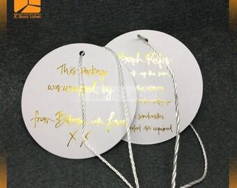 1000 gold foil tags, heavy gold hang tags,  Custom Hang Tags, texture tags