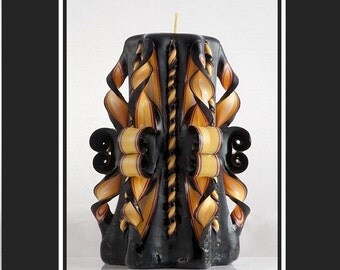 Carved Candle - Pillar Candle - Black candle - Decorative candle