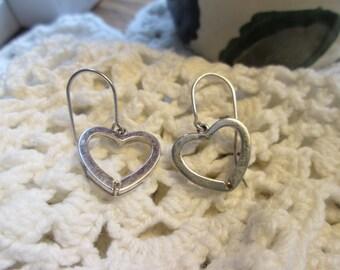 925 Sterling Silver Heart Dangle Earrings, Pierced, Wt. 2.3 Grams