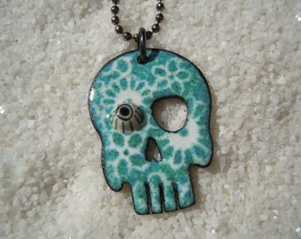 Blue Sugar Skull Necklace with one eye