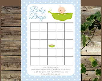 Baby Shower Bingo, Blue Pea in a Pod Printable Baby Shower Game, Instant Download Baby Bingo