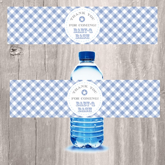 Blue Baby-Q Bash Printable Water Bottle Labels Baby Shower