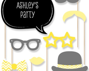20 Yellow Chevron Photo Booth Props with Mustache, Hats, Bow Ties and Custom Talk Bubble - Baby Shower, Brithday Party, Bridal Shower