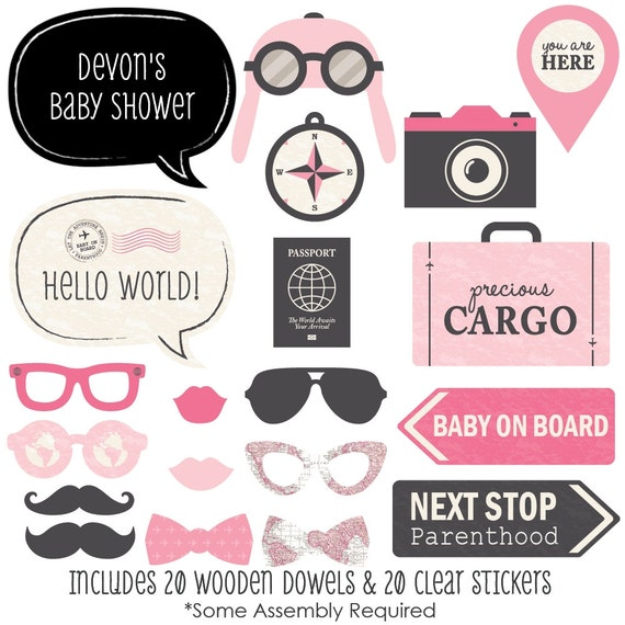 Precious Cargo Baby Shower Photo Booth Props Personalized Pink