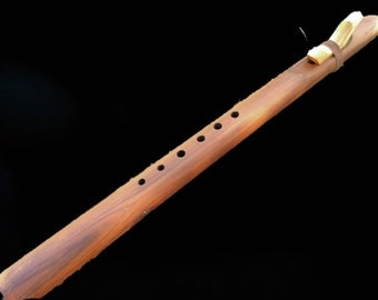 western red cedar native american style flute.  Deep tone and six finger holes for minor pentatonic mode 1 & 4 scales. Pick your key!!!!!