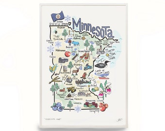 "Minnesota Art, 9""x12"" Minnesota Map, Minnesota Print, Unframed, Printed on watercolor paper"