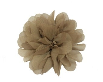"3.75"" Scallop Hair Flowers, Wholesale Scallop Flower Heads for Flower Head Bands, Lot of 1, 2, 5 or 10, Light Brown"