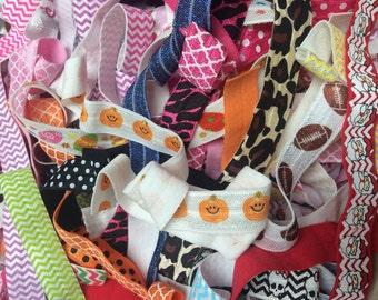 "Printed Fold Over Elastic GRAB BAG 5/8"" Wholesale, Fold Over Elastic for New Baby Headbands, 5/8"" FOE Grab Bag of 25 Half Yards - Prints"