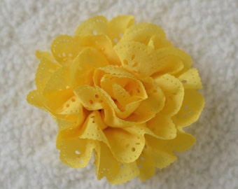 3 inch Eyelet Flower Heads, Wholesale Hair Flowers for Baby Girl Headbands Lot of 1, 2, 5 or 10, Yellow