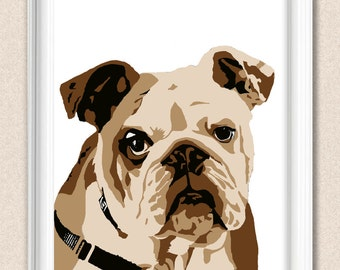 English Bulldog Print Gift for Dog Lovers Art Print A145