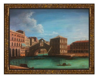 """Hand Painted reproduction """"Grand Canal-Rialto Bridge From The North"""" By Giovanni Antonio Canaletto 36"""" X 48"""" Stretched only or framed"""