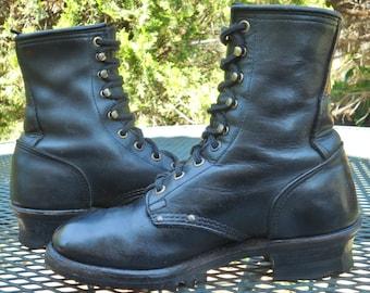 Vintage USA EASYRIDER Black Leather Biker LUG Boots Packer Logger Moto Boots Lacer Rodeo Work Womens 7.5