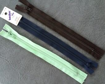 Zippers, Group of Three, YKK, Coats & Clark, 7 Inch Zipper, Plastic Metal Zipper, For Small Item, Light Green, Dark Brown, Navy, Vintage New