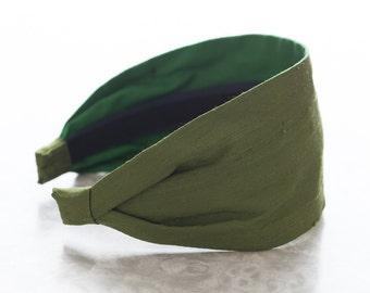 Dupioni Silk - Tuscan Olive - Dark Green Wide Fabric Headband