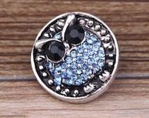 Blue Night Owl Rhinestone Snap Charm
