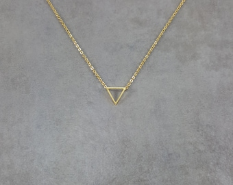 Triangle Gold Necklace in Gift Box Geometric Shape Gold 18K Filled Shapes Trendy Fashion Triforce