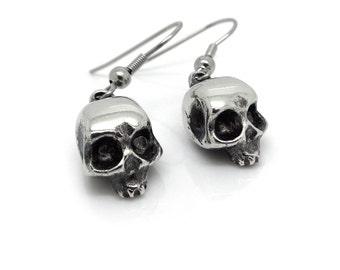 Dangle Skull Earrings, Handmade Skull Charms in Pewter on Steel Hooks
