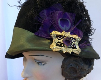 SPECIAL FALL SALE  Black Velour Felt 1920S Cloche Hat with Silk Olive Ribbon, Vintage Gold Tone Pn & Feathers. Handmade