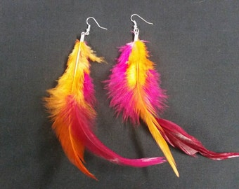 Pink and orange feather Earrings
