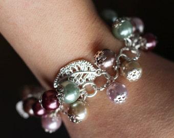 Cluster bracelet, fantasy bracelet, glass pearls, handmade jewelry