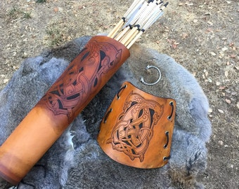 Leather Archery Back Quiver W/ matching armguard