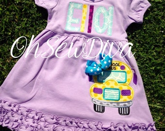 Girl's Diva School Bus Back to School / First Day of School Dress; Applique Bow Included