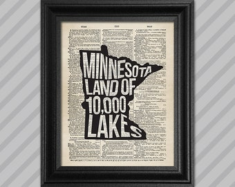 Minnesota Dictionary Art - Land of 10,000 Lakes