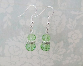 Silver Plated Green Glass Beads - Ready to Ship