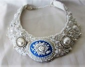 Handmade bead embroidered bib collar necklace with resin cabochon and Swarovski pearls