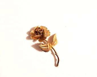 Vintage Golden Rose Brooch