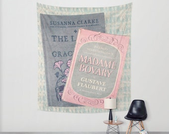 Pink and Gray Books Wall Tapestry: Wall art, wall decor, wall hanging, books, photography, library, Madame Bovary