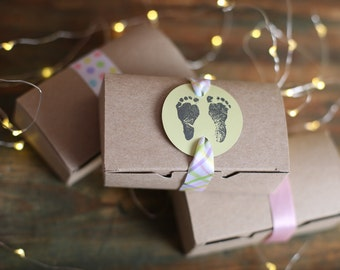Edible Baby Shower Favors /Maine Sea Salted Caramels/ 3 Caramels in a Kraft Box (15 boxes)