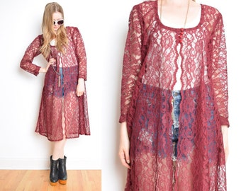 vintage 90s sheer burgundy lace scalloped babydoll grunge duster jacket dress 1990s clothing L XL