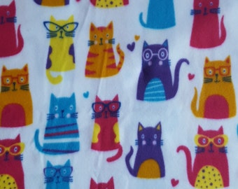 Fabric by the 1/2 Yard - Cats with Glasses Fleece Fabric