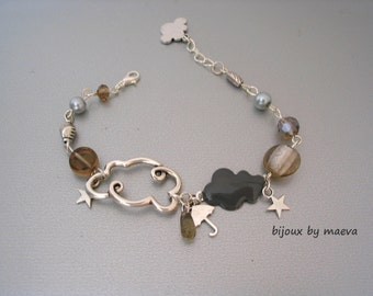 Costume jewelry handmade gray strap Cloud