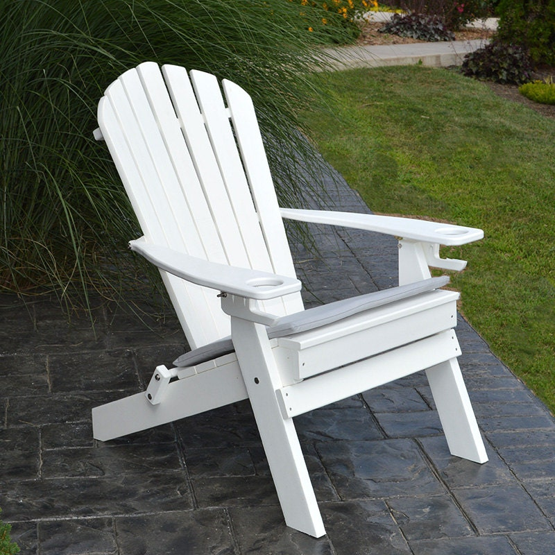 Recycled Plastic Folding Adirondack Chair With Cupholders