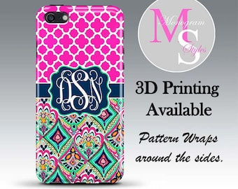 Monogram iPhone 7 Tough Case Personalized Phone Case iPhone 6, 6S Plus Lilly Pulitzer Inspired Monogrammed iPhone 4, 4S, 5, 5S 5C Case #2693