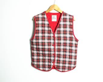 Red Plaid vest, Womens vest, 90s Vintage vest, Plaid vests, Tartan vest , Womens Waistcoat, Cottage chic vest, Button up vest / Medium Large