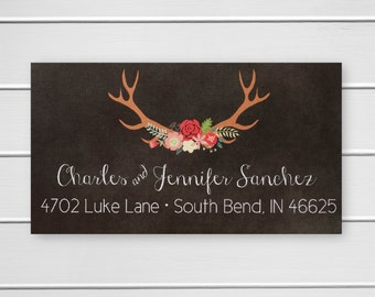 Stickers for Christmas Cards, Deer Antler Return Address Labels, Return Address Stickers (#510)