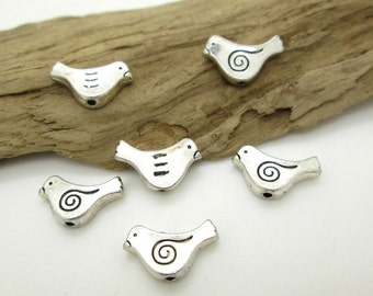 Small Pewter Bird Bead, Bird Spacer Bead, Tribal Bird Bead, Ethnic Bird, Earring Dangle, 15x10mm (6)