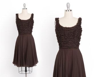 Vintage 1960's Brown Chiffon Dress // 60s Ruffle Party Dress