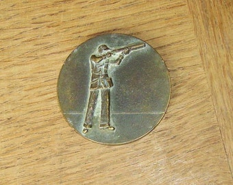 French Vintage Bronze Shooting Medal.  Medallion.  Suitable For Your Engraved Inscription