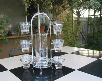 Elegant Vintage Etched Glass Martini Set With Caddie