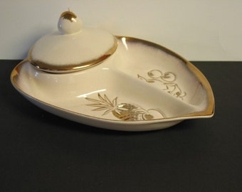 Beautiful Vintage Hoenig Of Calif. Covered Appetizer And Dip Set Ivory And Gold
