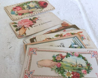 7 Antique Victorian Hidden Name Calling Cards