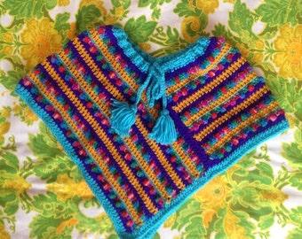 Vintage Poncho. Vintage Girls Poncho. Little Girls Poncho. Multi-Colored Knit Poncho. Handmade Poncho. Purple and Blue Poncho. Kids Poncho.